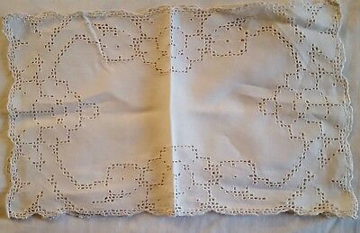 """2 off white filet PUNCHWORK linen tray doily placemats 9 1/2"""" x 16"""" vtg"""
