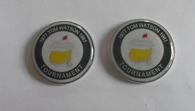 2 Only TOM WATSON US MASTERS GOLF BALL MARKERS - TRIBUTE to His WINS 1977 & 1981