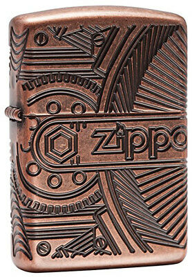 Zippo Gear Armor Antique Copper Finish Pocket Lighter 29523
