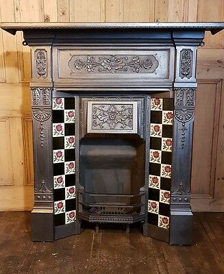 Antique Victorian Edwardian cast iron combination  fire surround tiled #C3