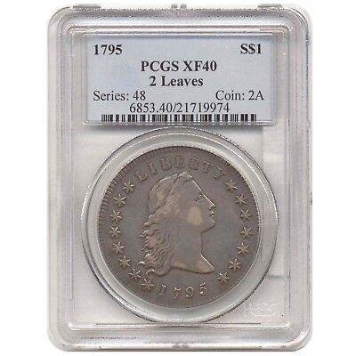 1795 Pcgs Xf40 Flowing Hair Dollar 2 Leaves No Reserve