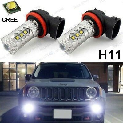 2x High Power White Front Fog Lights LED Bulbs for 2015 2016 2017 Jeep Renegade