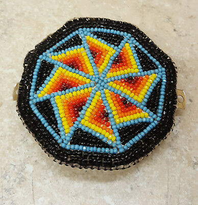 Nice Hand Crafted Cut Beaded Geometric Design Native American Indian Barrette