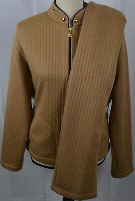 ST JOHN SPORT Track Suit Large L Zip Up Jacket Pants Knit Tan Gold 2 Piece Set