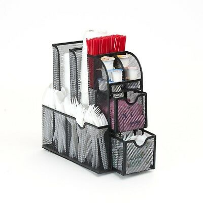Condiment Caddy Organizer, Black Metal Mesh All in one compact Unit Home Office
