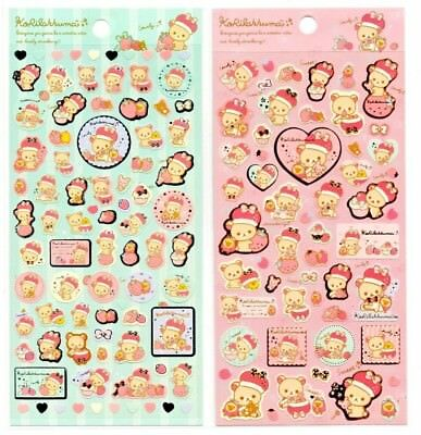 San-x Rilakkuma Royal Strawberry Seal Stickers Sticker Sheet LOT Kawaii Japan