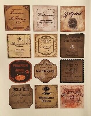 "12 Apothecary Potion Bottle LABELS 2"" Harry Potter Party Prop Halloween DIY"