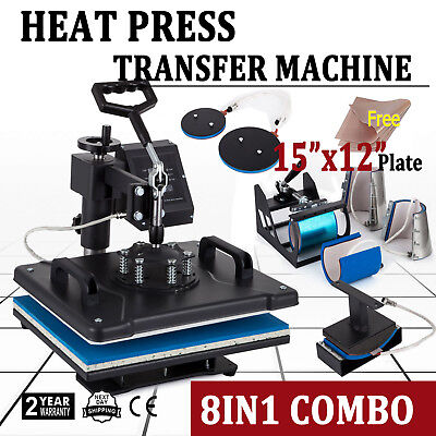 """8 in 1 Heat Press Machine For T-Shirts 15""""x12"""" Combo Kit Sublimation Swing away"""
