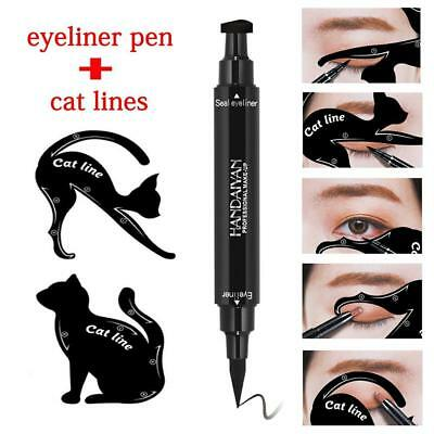 2 in 1 Dual-ended Liquid Eyeliner Pen+Stamp Seal Cat Eyeshadow Template Card