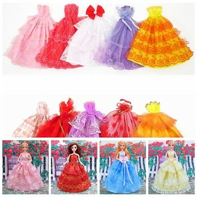 6pcs Random Handmade Wedding Dress Party Gown Clothes Outfits For Barbie Doll