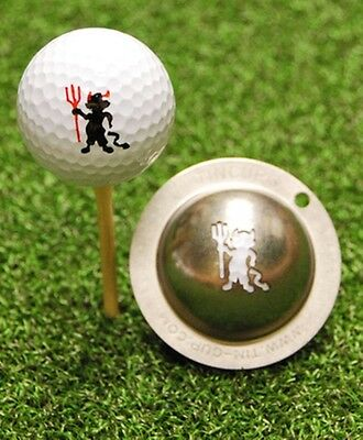 1 only TIN CUP GOLF BALL MARKER - DIABLO DEVIL (MAN UTD LIKE)  EASY TO DO