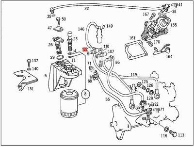 New Genuine Mercedes W210 E300 Fuel Line From Fuel Filter to Shut-Off Valve