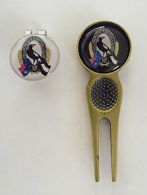 2 Only Collingwood Magpies Golf Ball Markers,a Quality  Divot Tool &  Hat Clip