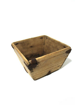 Old Chinese RICE MEASURE Wooden Box Steel Timber Vintage Antique