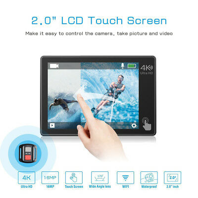 """JEEMAK Action Cam 4K 2"""" Touch Screen Action Camera WiFi 16MP Remote Control EU"""