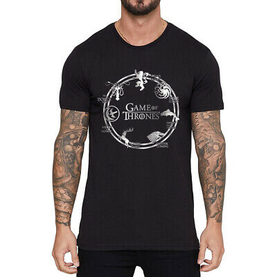 Game of Thrones House Men's T-shirts Funny Short Sleeve Cotton Black Tee Tops