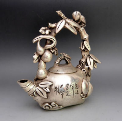 Asia Collectible Decorated Miao Silver Carved Bird On Grape Tree Tea Pot