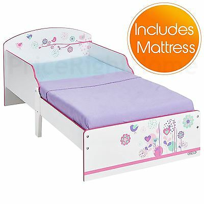 Flowers And Birds Toddler Junior Bed With Side Panels + Fully Sprung Mattress