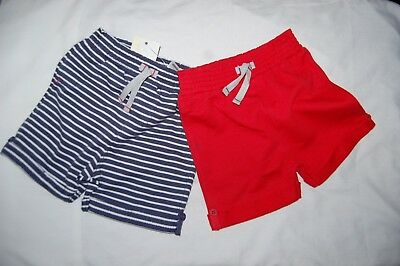 George 2 Pairs Shorts 100% Cotton 1 Blue Striped 1 Plain Red 12-18 Months BNWT