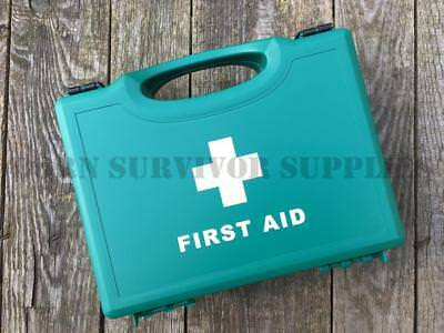 EMPTY FIRST AID KIT BOX SMALL - Green Compact Hard Carry Handle Storage Case Car