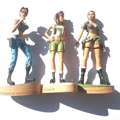 3 x Lara Croft Tomb Raider Legend Adventures Collectible Resin Figure lot 1