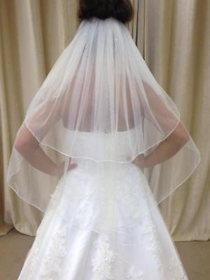 Ivory/White 2 Tier Waist Length Bridal Wedding Veil Pencil Edge With Crystals