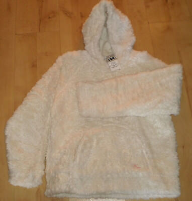 Next Girls White Fluffy Warm Hooded Pullover Jumper Jacket Sweater age 13 years