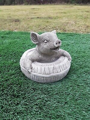 """Solid concrete pig,/""""pig on wall/"""",garden ornament,pigs,COLLECTION ONLY"""