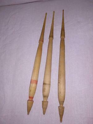 Vintage Lot of 3 Antique Hand Carved Wooden Spindles For hand Wool Spining