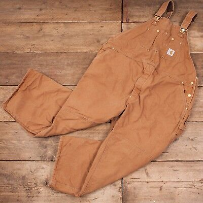 """Mens Vintage Carhartt Duck Brown Workwear Overalls Dungarees USA 50"""" x 28"""" R8010"""