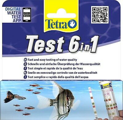 Tetra 6 In 1 Test Strips Aquarium Water Ph Tester Fish Tank New Test Kit 25 Pack