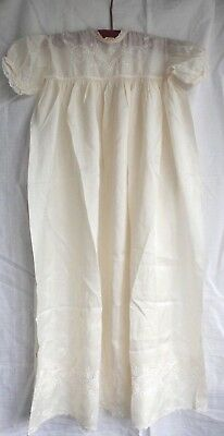 Antique Christening Gown Pure Silk Ivory Baby Dolls Dress Vintage Wedding Guest