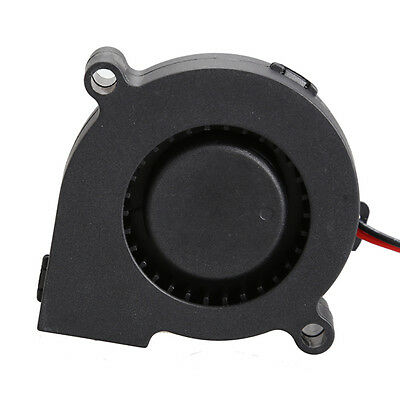 Black Brushless DC Cooling Blower Fan 2 Wires 5015S 12V 0.12A A 50x15 mm HL