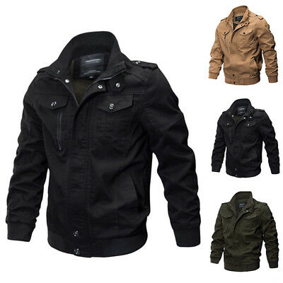 Outwear New Jacket Casual Warm Cotton Solid Winter Mens Tops Slim Coat Military