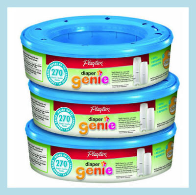 Playtex Diaper Genie Pail Refills 3 x 270 cassettes (3 Pack equals 810 Total)