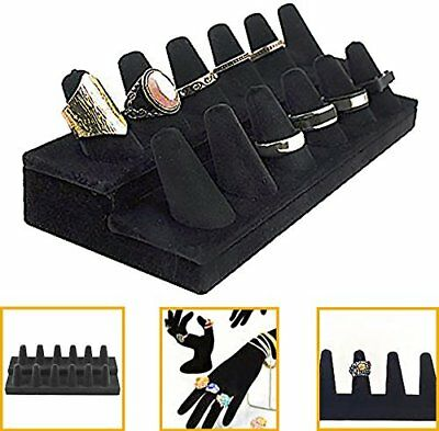 Black Velvet Finger Ring Showcase Display Jewelry Organizer Stand (Black) NO TAX