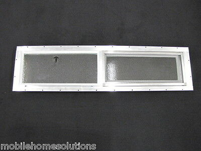 "Mobile Home Window 36"" x 8"" Horizontal Slider. Obscured Glass Bathroom Window"