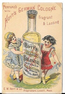 Victorian Trade Card Hoyts German Cologne Hoyt's Lowell Mass. Two Girls Dancing