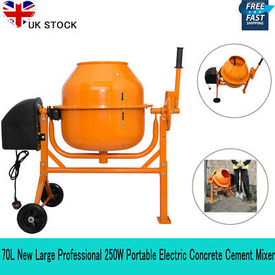 70L New Large Professional 250W Portable Electric Concrete Cement Mixer UK STOCK