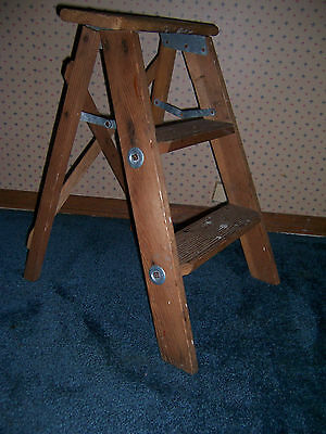 Vintage Wooden 2 Step Folding Stool Ladder Shabby Country Primitive Decor