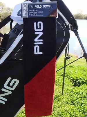 Ping Golf - TRI-FOLD TOWEL (Black/Red) + FREE Ping Tour Tees