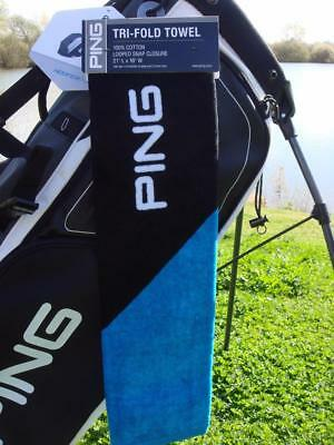 Ping Golf - TRI-FOLD TOWEL (Black/Royal) + FREE Ping Tour Tees