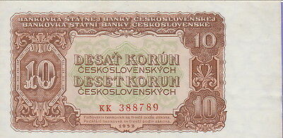 Czechoslovakia,10 Korun Banknote,1953,Uncirculated Condition Cat#83-B