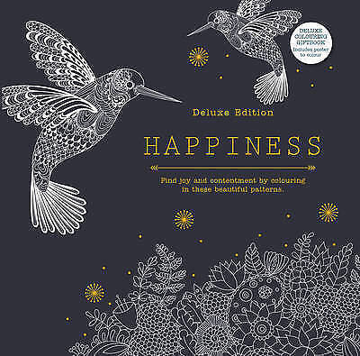 Happiness Deluxe Edition Colouring Hardcover Book NEW - Free Shipping!