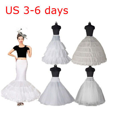 White Crinoline Petticoat Wedding Skirt Underskirt A Line Mermaid Hoops Dress US