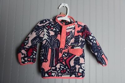 f26558d1 Patagonia Baby Lightweight Synchilla Snap-T Pullover Sz 6-12M Coral Pink  Black