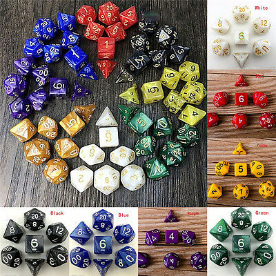 7 Dice Set Dungeons & Dragons D&D Multi Sided D4-D20 RPG Role Play Game J&C
