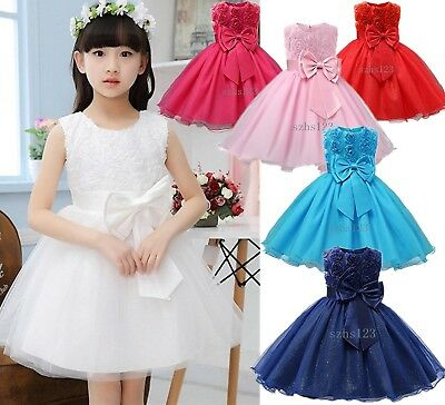Girls Bridesmaid Dress Baby Flower Kids Party Rose Bow Wedding  Bridesmaid Prom