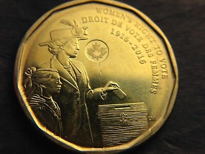 CANADA 2016 Women's Right to Vote LOONIE $1 Dollar Coin