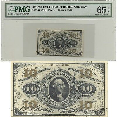10 Cent Third Issue Fractional Currency Pmg Epq 65 Gem Uncirculated N R (Inv#10)
